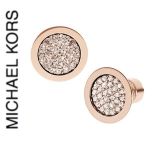 NWT authentic MK rose gold tone pave stud earrings